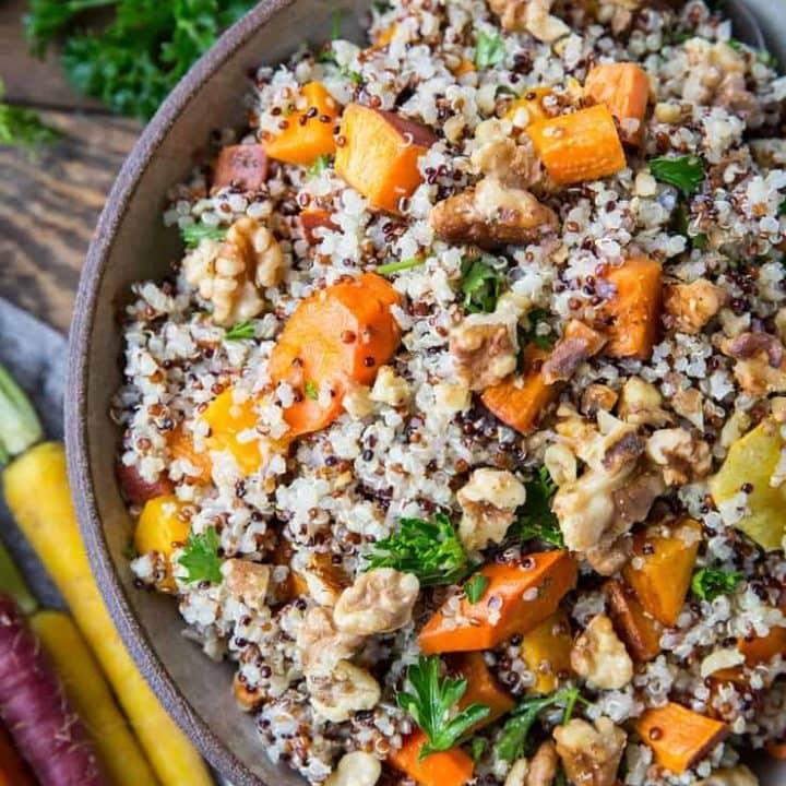 Roasted Winter Vegetable Quinoa Salad with Cider Vinaigrette - carrots, parsnips, butternut squash, sweet potato, parsley, and quinoa make up this gorgeous salad | TheRoastedRoot.net #paleo #vegan #vegetarian