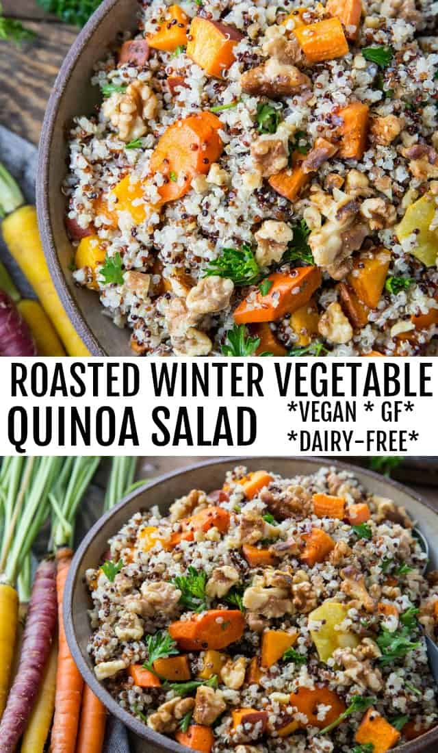 Roasted Winter Vegetable Quinoa Salad with Cider Vinaigrette - carrots, parsnips, butternut squash, sweet potato, parsley, and quinoa make up this gorgeous salad | TheRoastedRoot.net #paleo #vegan #vegetarian