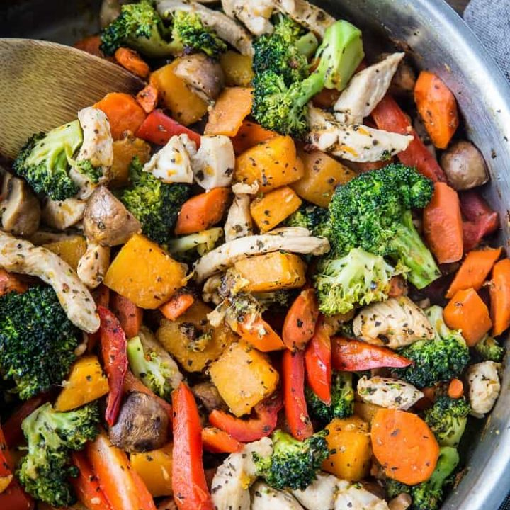Butternut Squash Ginger Chicken Stir Fry - a clean, delicious, easy dinner recipe for weeknight meals. Paleo, Whole30, low-carb   TheRoastedRoot.net #glutenfree #healthyrecipe