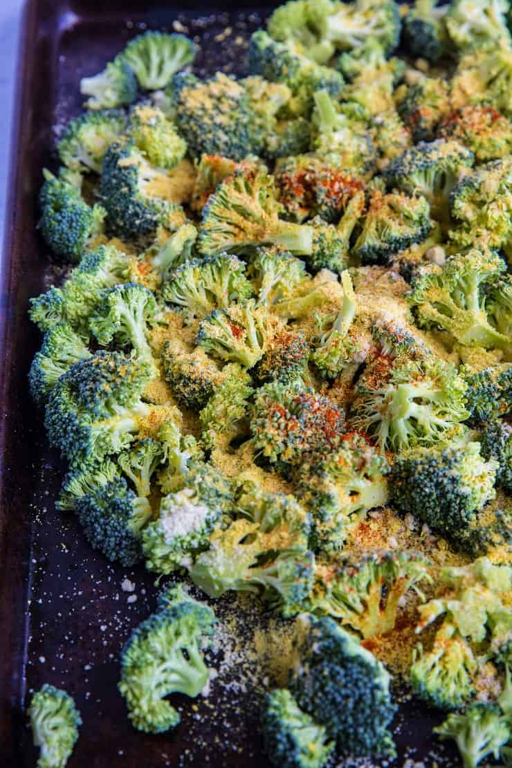 Cheesy Vegan Roasted Broccoli | TheRoastedRoot.net