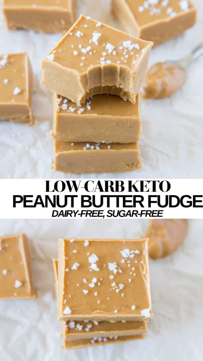 Low-Carb Keto Peanut Butter Fudge - dairy-free, refined sugar-free, healthy fudge recipe - a healthy no-bake dessert!