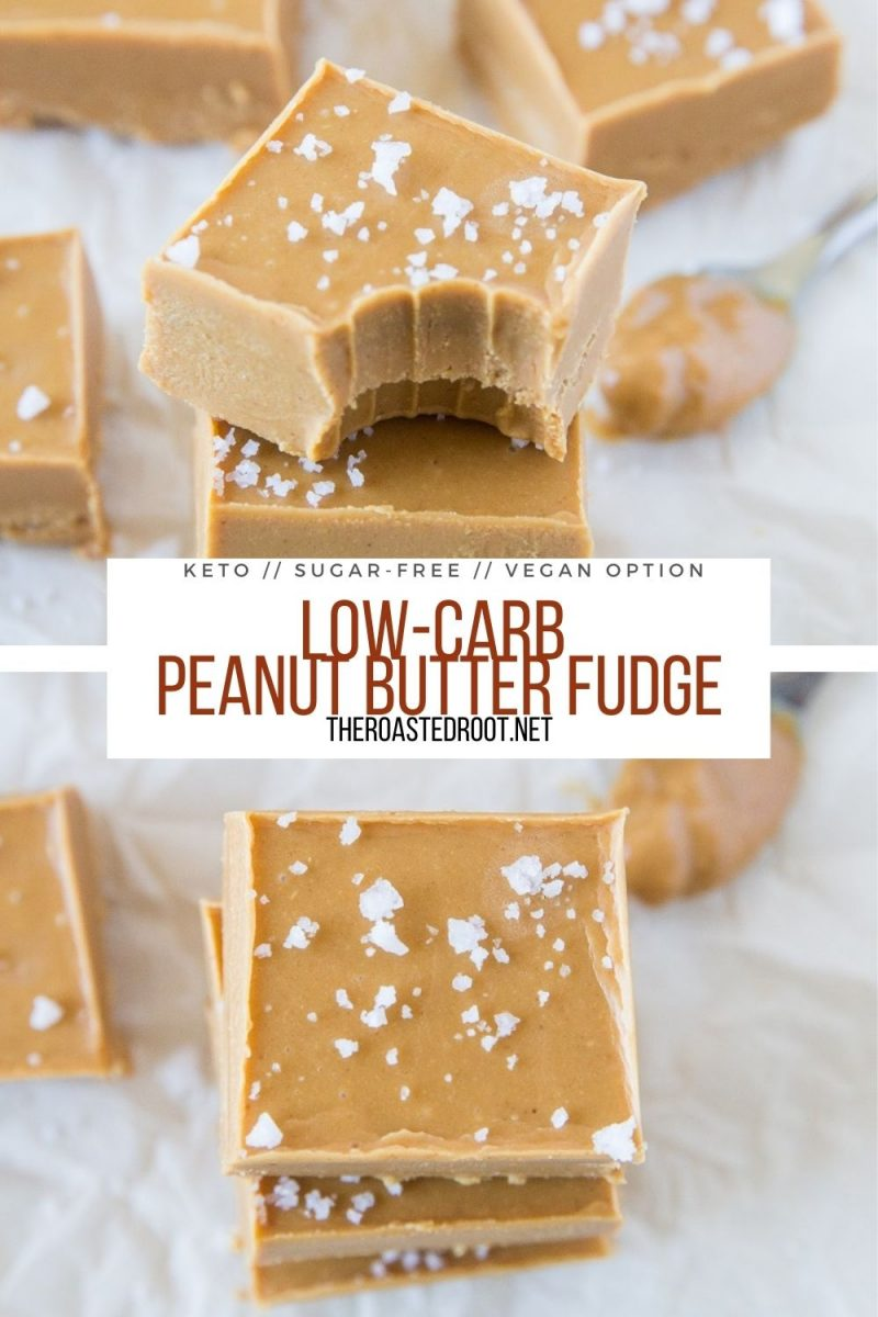 Low-Carb Peanut Butter Fudge with a vegan option - a healthier, easy fudge recipe perfect for gift giving