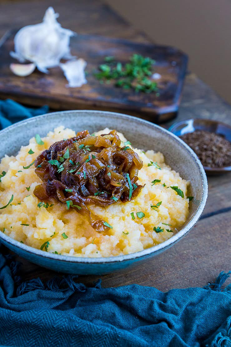 Mashed Rutabaga with Caramelized Onions - a lower-carb, more nutritious alternative to mashed potatoes | TheRoastedRoot.net #healthy #lowcarb #glutenfree #paleo