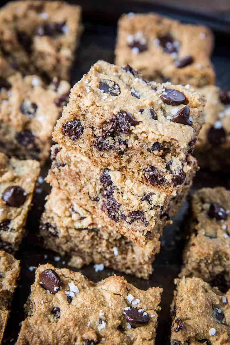 Paleo Chocolate Chip Cookie Bars - grain-free, refined sugar-free, healthy cookie bars made with almond flour and pure maple syrup   TheRoastedRoot.com #glutenfree #dessert