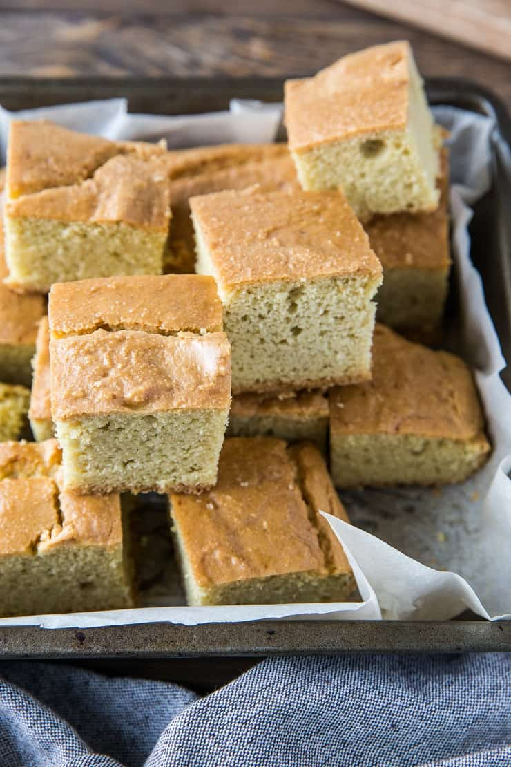 "Paleo Cornbread (with a Keto Option) - Fluffy, moist ""cornbread"" made with almond flour for a low-carb bread option. 