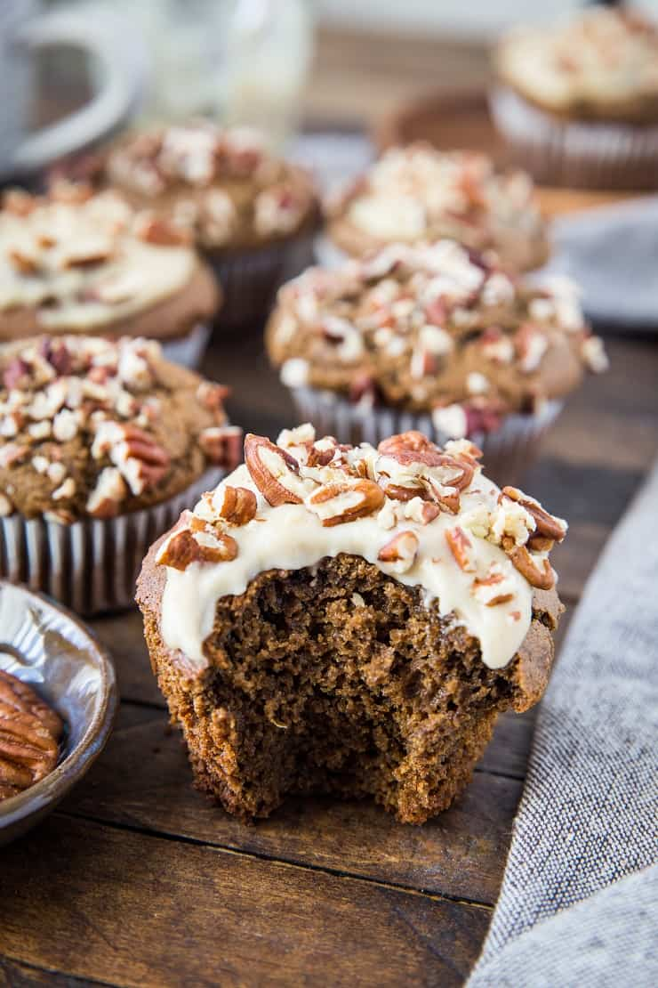 Paleo Gingerbread Muffins with Dairy-Free Cream Cheese Frosting - grain-free, refined sugar-free, healthy and delicious! | TheRoastedRoot.net #glutenfree