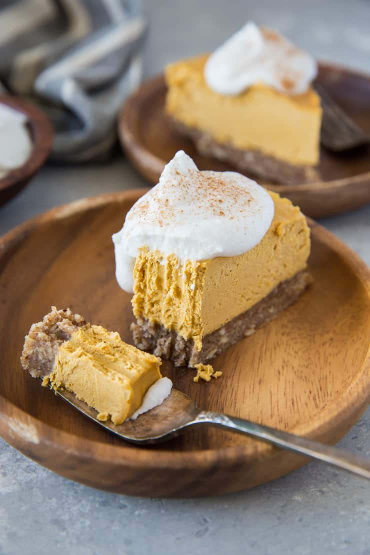 Paleo Pumpkin Cheesecake - a no-bake vegan pumpkin cheesecake recipe made dairy-free and refined sugar-free | TheRoastedRoot.net #glutenfree #grainfree