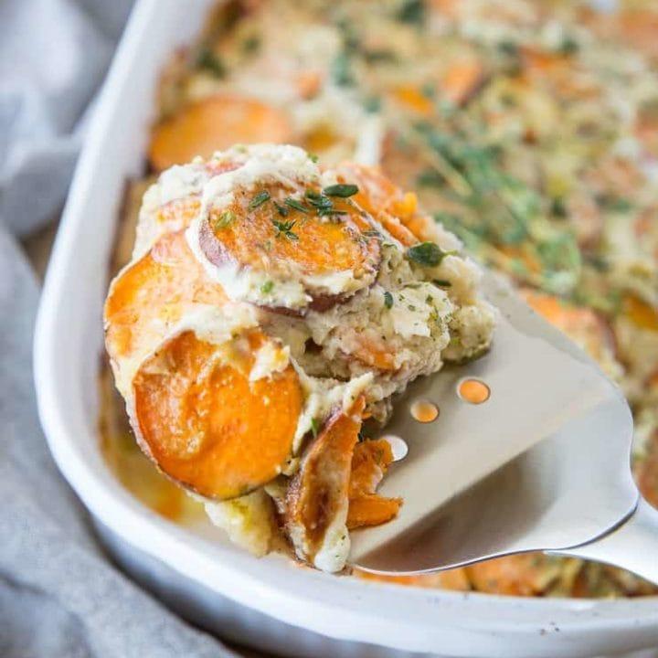 Paleo Scalloped Sweet Potatoes - dairy-free with a cauliflower sauce | Theroastedroot.net