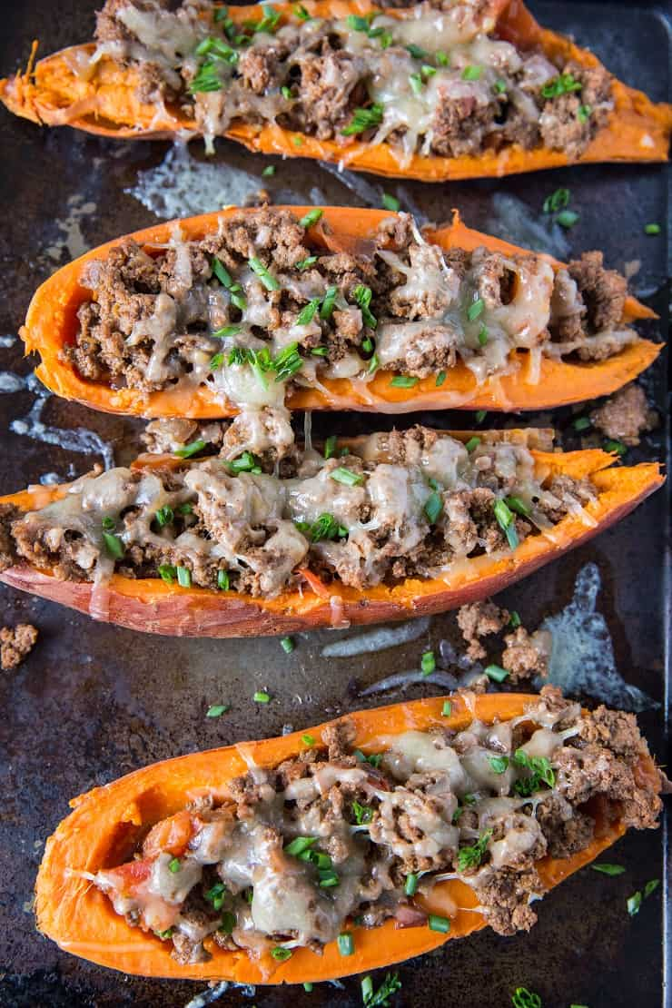 Taco-Stuffed Sweet Potatoes - an easy, healthy dinner recipe | TheRoastedRoot.net #glutenfree