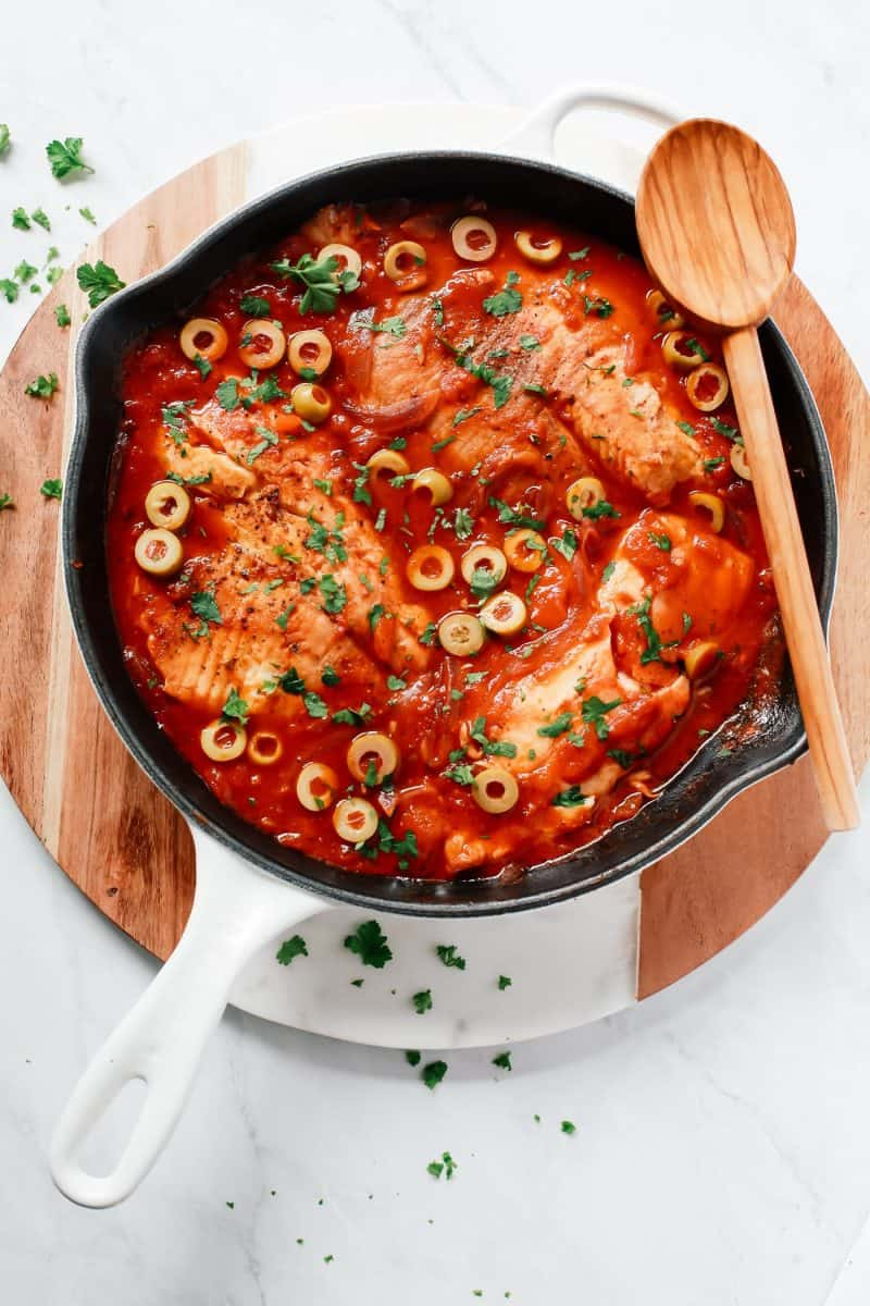 3-Ingredient Tilapia Skillet from Primavera Kitchen + 65 Keto Recipes | TheRoastedRoot.net #