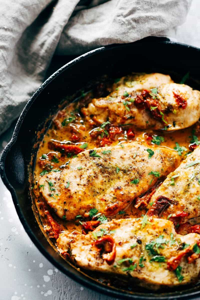 Creamy Parmesan Chicken Skillet from Primavera Kitchen + 65 Keto Recipes | TheRoastedRoot.net #lowcarb #keto