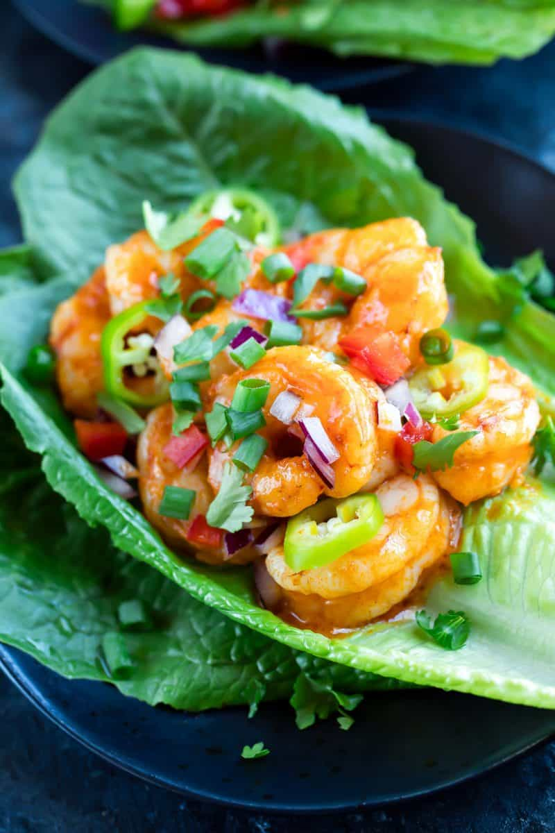 Buffalo Shrimp Lettuce Wraps + 65 Keto Recipes | TheRoastedRoot.net #keto #lowcarb