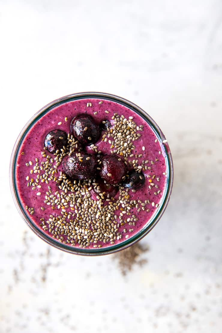 Adaptogenic Protein Smoothie (2 Ways!) with ashwagandha and maca. An easy nutrient-dense smoothie for a clean snack or meal in a glass. | TheRoastedRoot.net #paleo #smoothie #greensmoothie