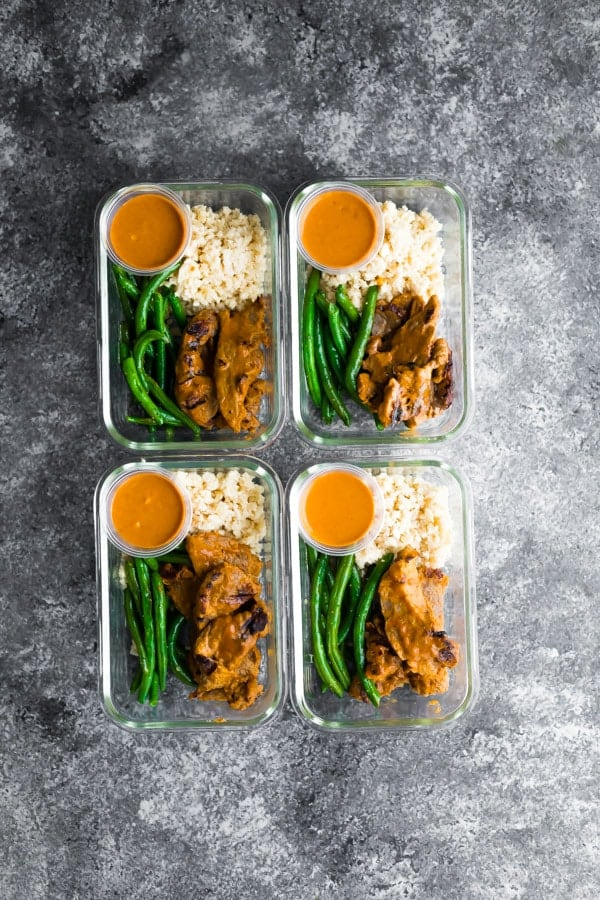 Low-Carb Beef Satay Meal Prep + 65 Keto Recipes | TheRoastedRoot.net