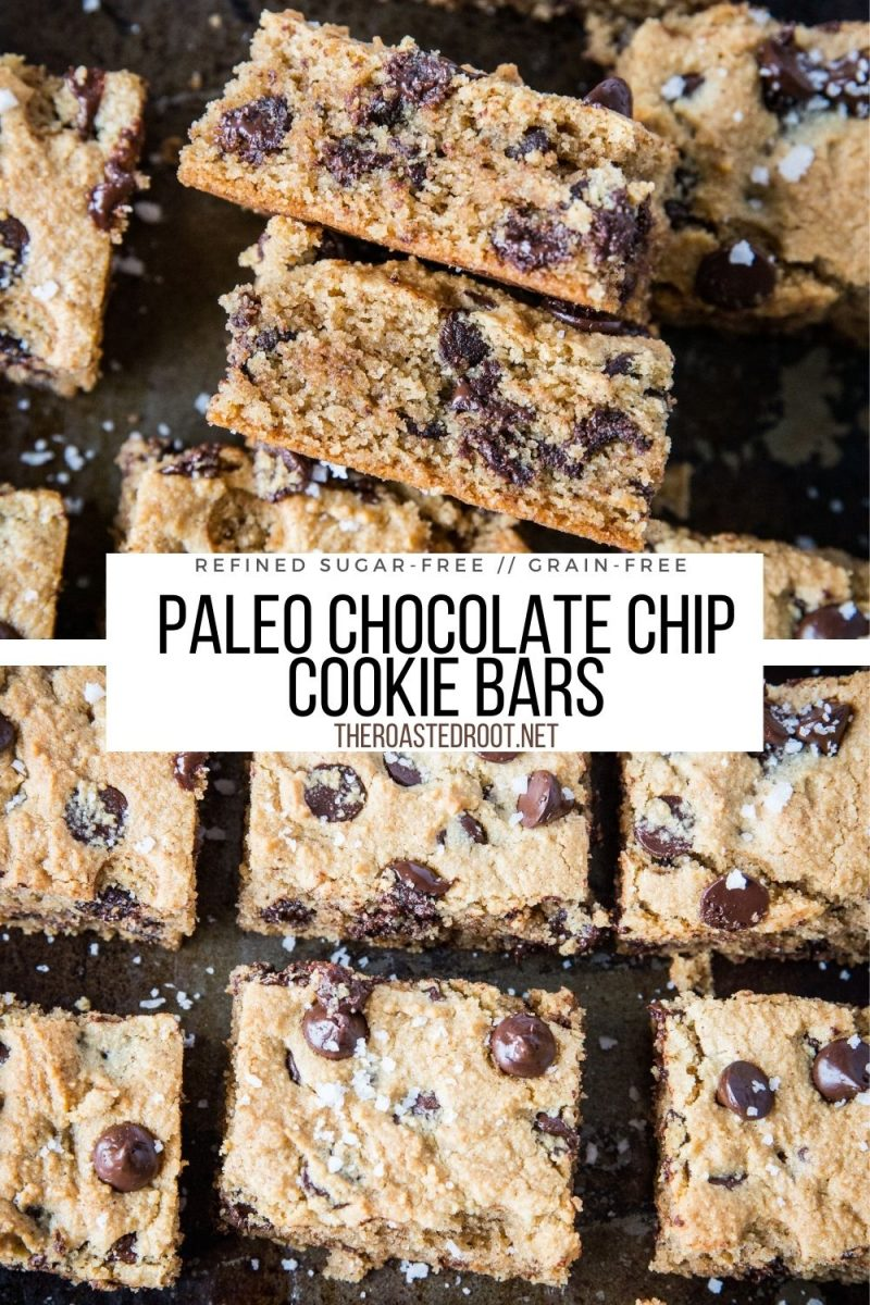 Paleo Chocolate Chip Cookie Bars - grain-free, refined sugar-free, rich, perfectly textured and delicious
