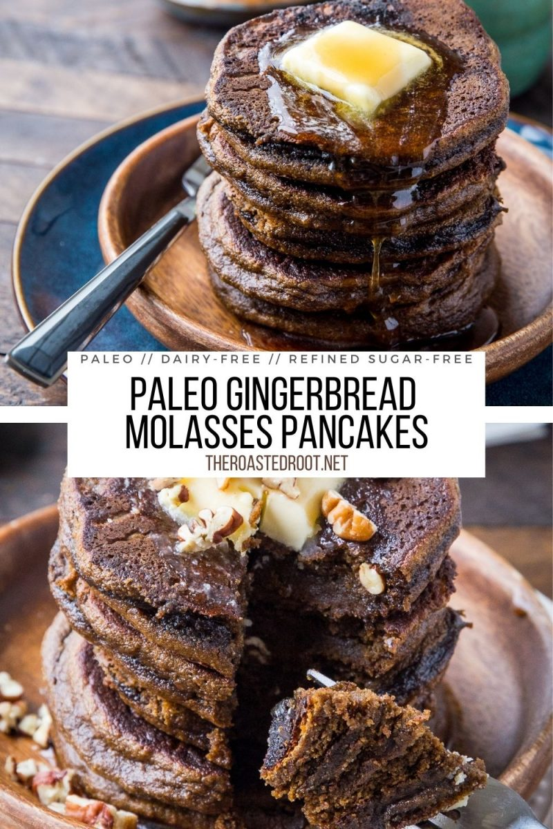 Paleo Gingerbread Pancakes made with almond flour and molasses -grain-free, dairy-free, refined sugar-free, moist and healthy!