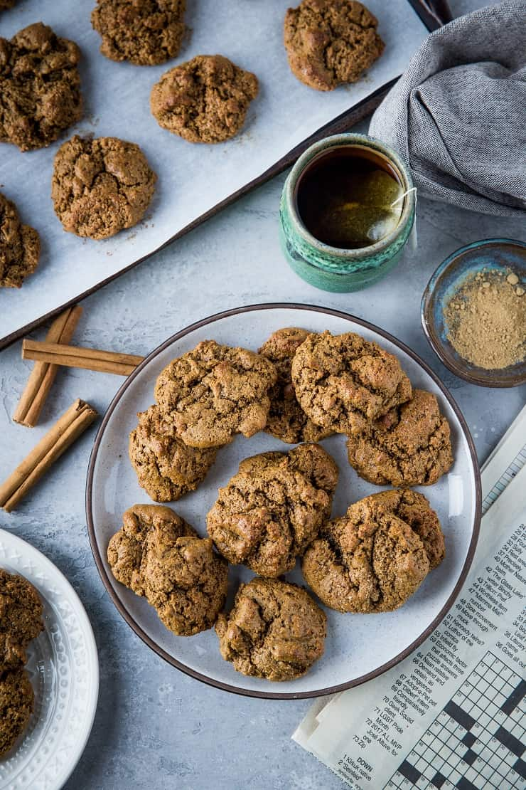 Paleo Ginger Molasses Cookies - soft and chewy cookies perfect for sharing over the holiday season. Grain-free, refined sugar-free, easy to prepare and delicious | TheRoastedRoot.net