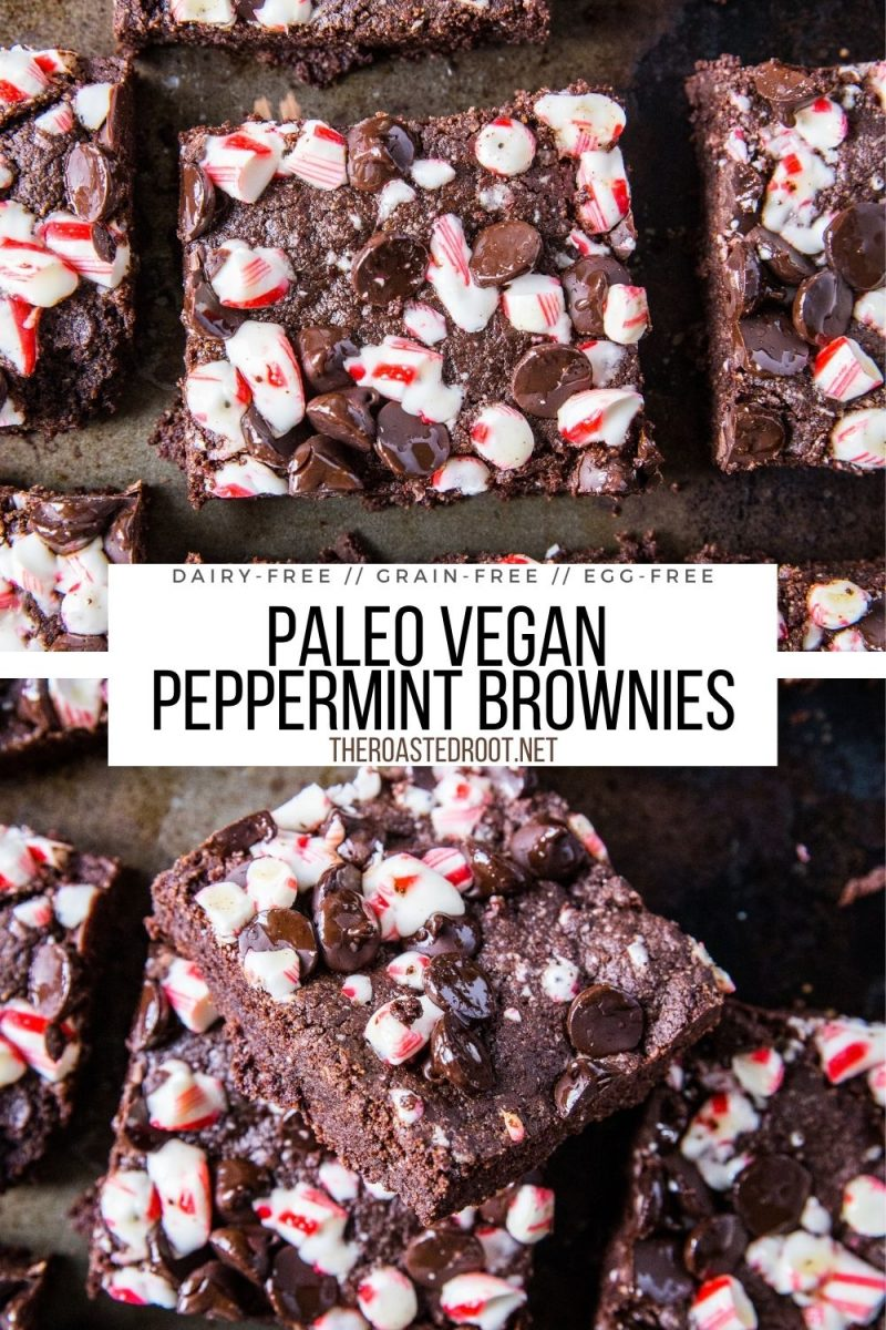 Vegan Peppermint Brownies made grain-free, refined sugar-free, dairy-free, egg-free, and paleo. These easy Pegan brownies are festive and fun for the holidays!