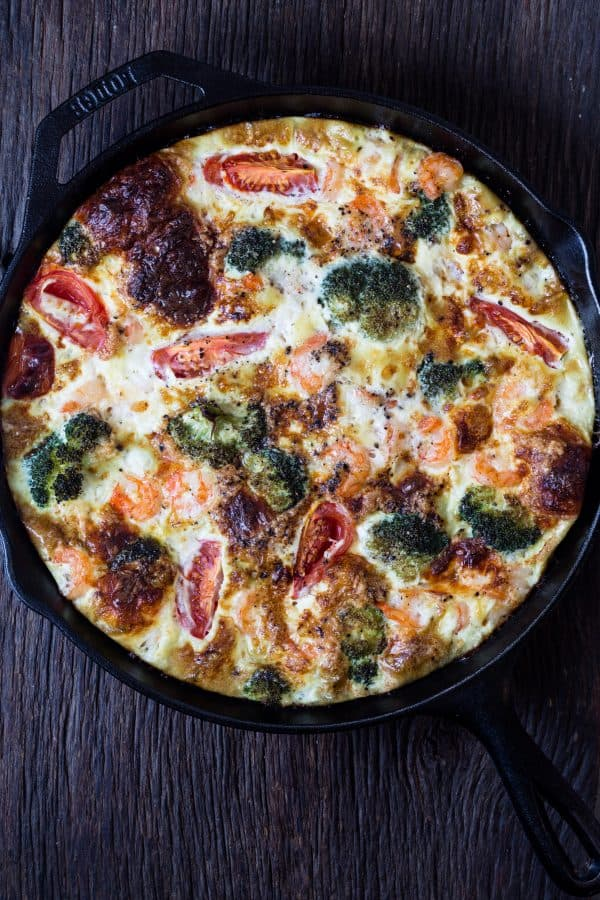 Shrimp and Broccoli Breakfast Frittata + 65 Keto Recipes | TheRoastedRoot.net #lowcarb #keto