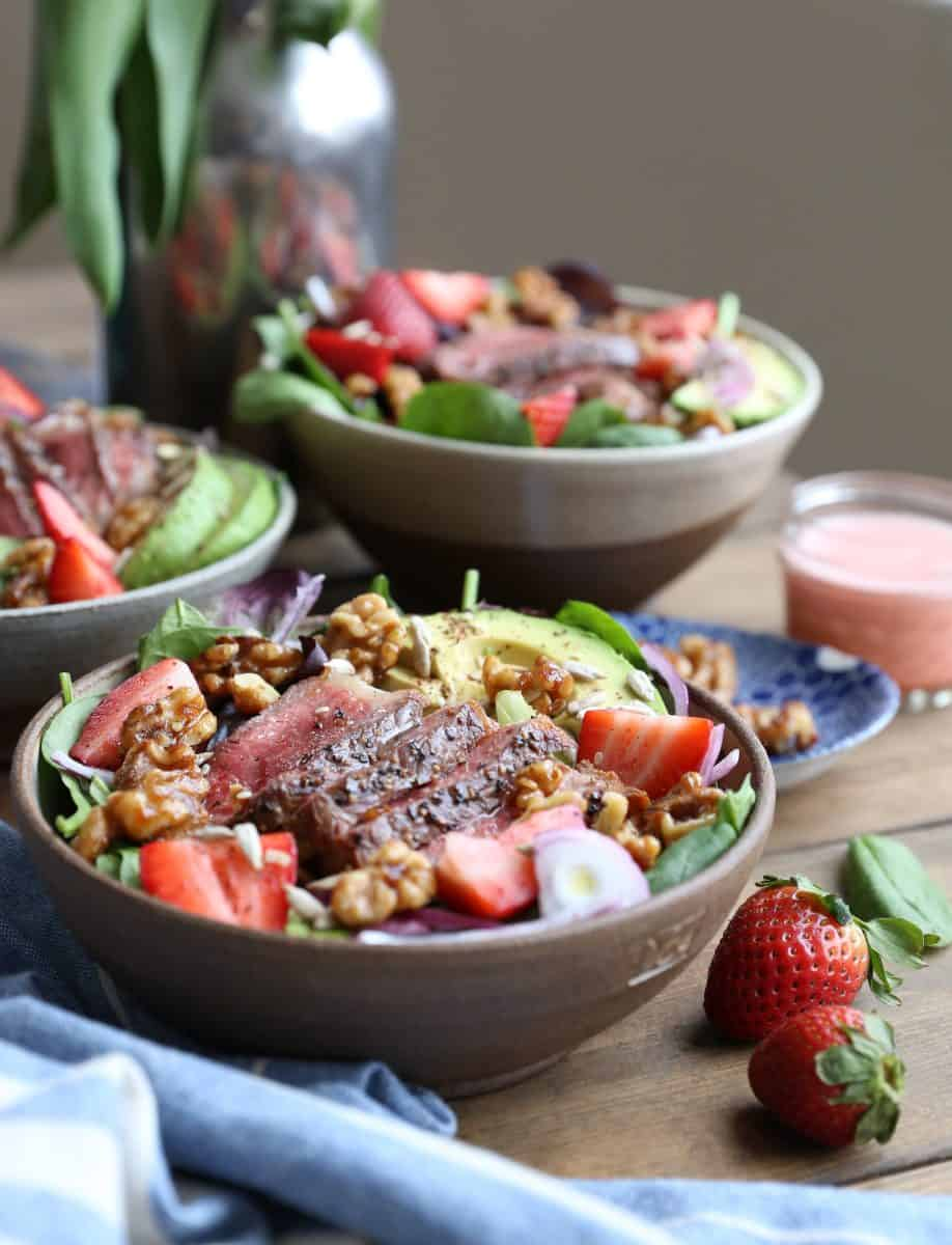 Steak Strawberry Salad from Paleo Power Bowls, by Julia Mueller