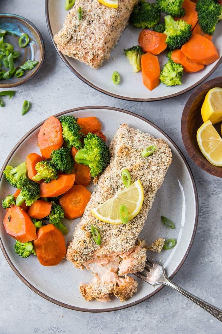 Almond Crusted Salmon - a quick, easy, delicious crispy salmon recipe requiring only a few basic ingredients. This crusted salmon is Paleo, Whole30, Keto, and delicious! | TheRoastedRoot.net