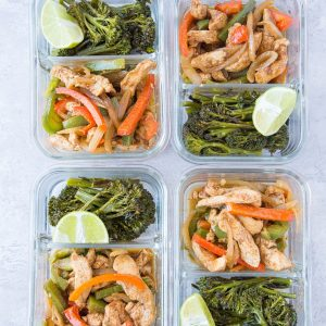 Chicken Fajita Meal Prep Bowls with Roasted Broccolini | keto, low-carb, paleo, gluten-free, and healthy, these bowls are so easy to make. | TheRoastedRoot.net