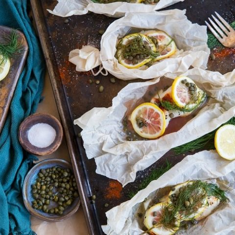 Lemon Dill Cod in Parchment Paper with Capers - low-carb, whole30, paleo, keto | TheRoastedRoot.net