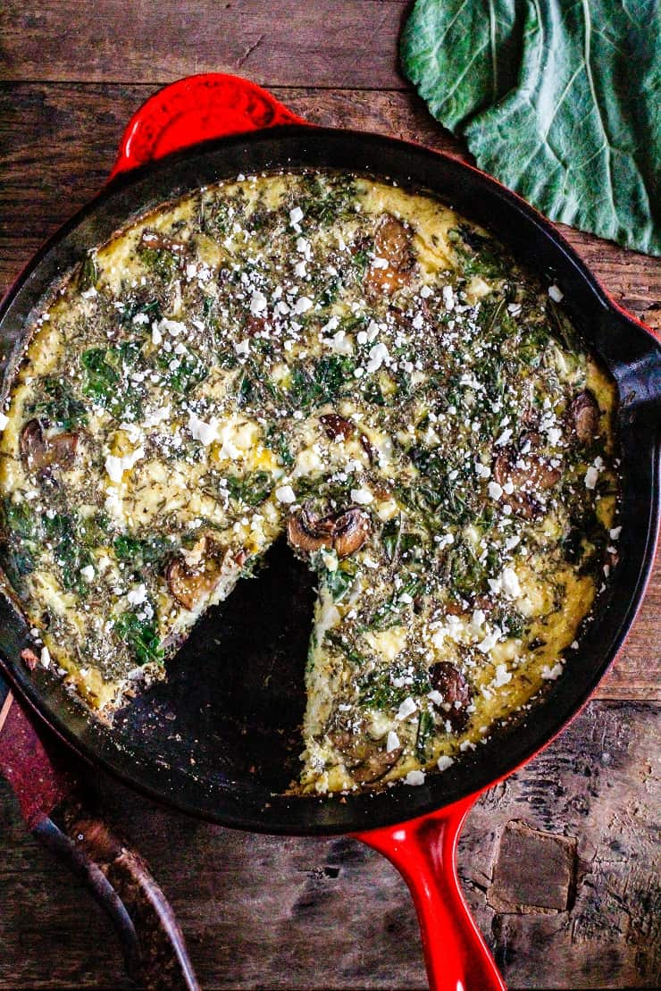 Collard Greens, Feta, and Mushroom Frittata - Keto, primal, vegetarian - a simple breakfast recipe that can be made ahead of time | TheRoastedRoot.net #glutenfree