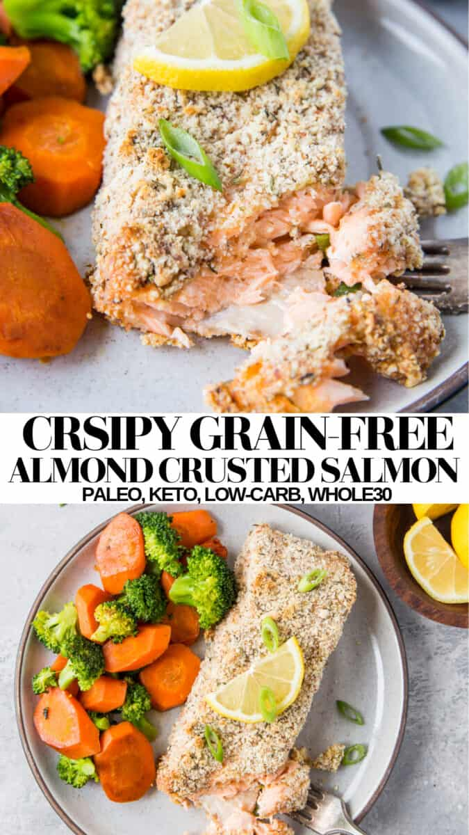 Paleo Almond Crusted Salmon - grain-free crusted salmon with almond flour. Paleo, keto, whole30, healthy