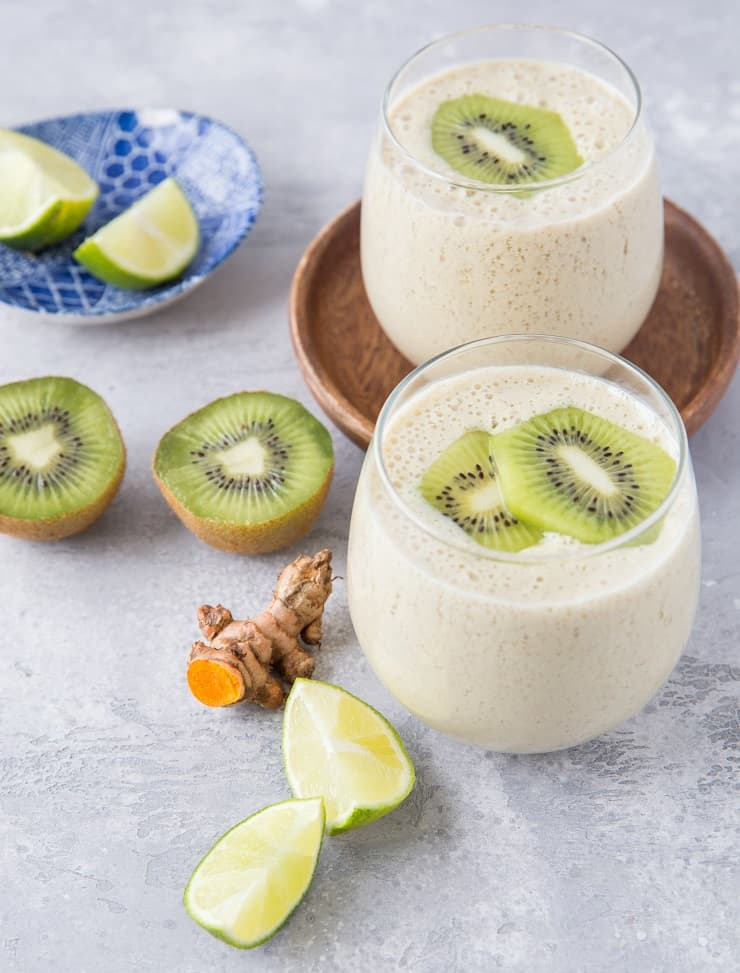 Turmeric Kiwi Protein Smoothie | TheRoastedRoot.net