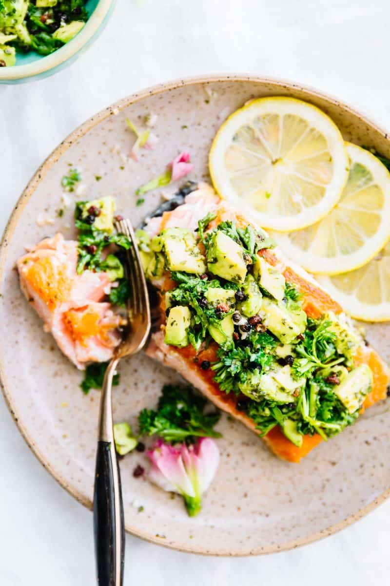 Pan-Seared Salmon with Avocado Gremolata from Cotter Crunch #whole30 #keto #paleo