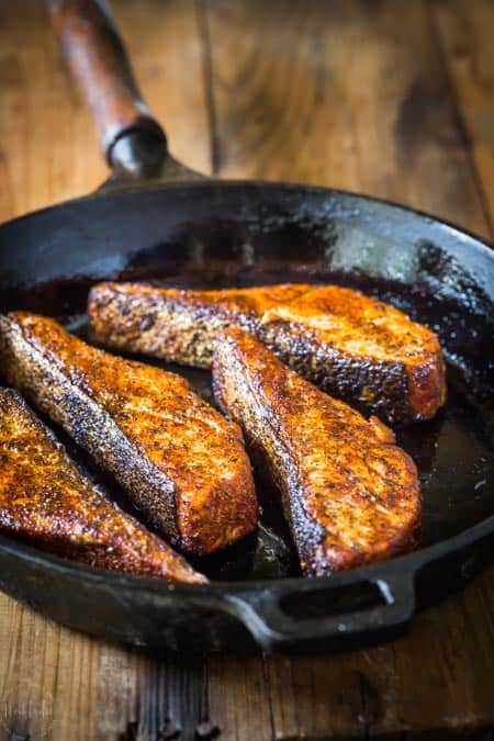 Blackened Salmon in the cast iron skillet