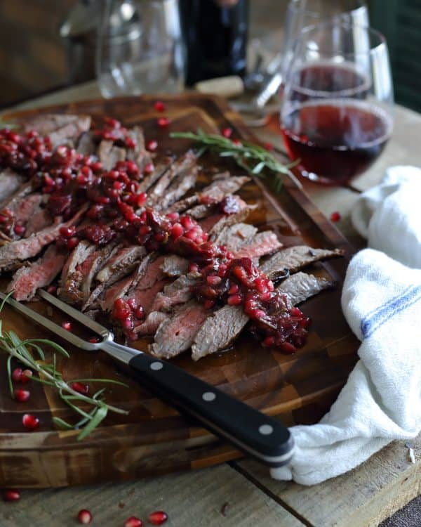 Pomegranate Cranberry Balsamic Flank Steak from Running to the Kitchen