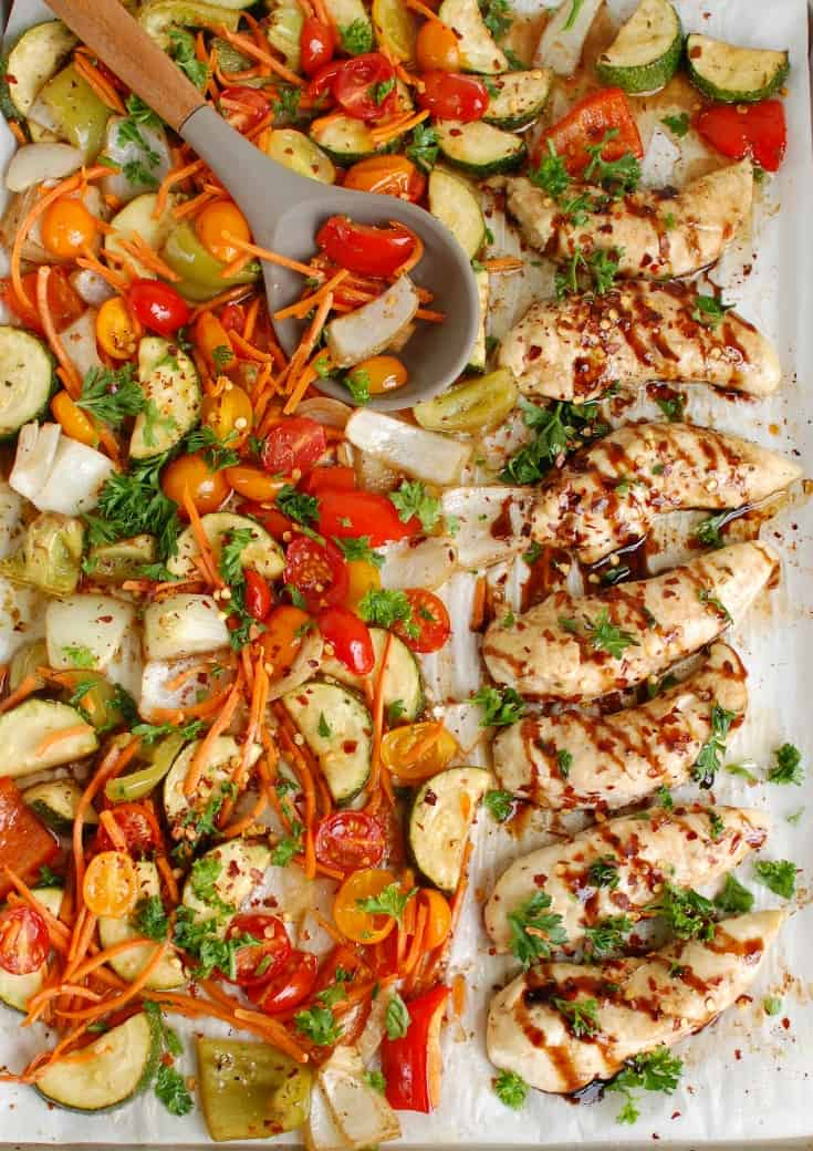 Sheet Pan Honey Balsamic Chicken Tenders from A Cedar Spoon #paleo #healthy