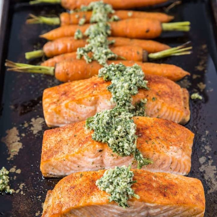 Sheet Pan Pesto Salmon and Carrots