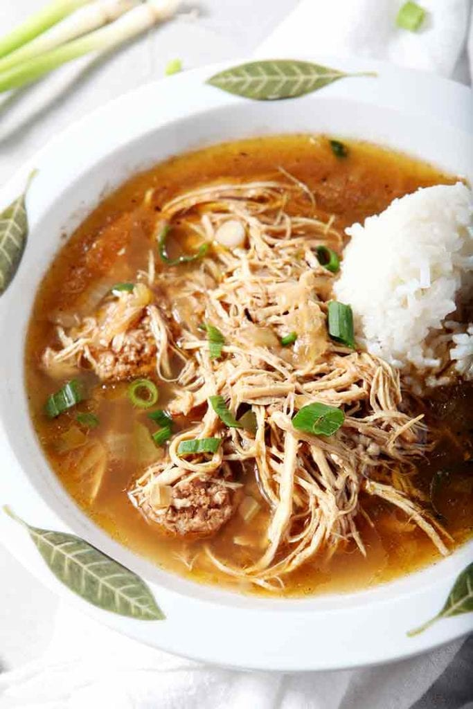 Amazing Chicken and Sausage Gumbo with the most tender shredded chicken