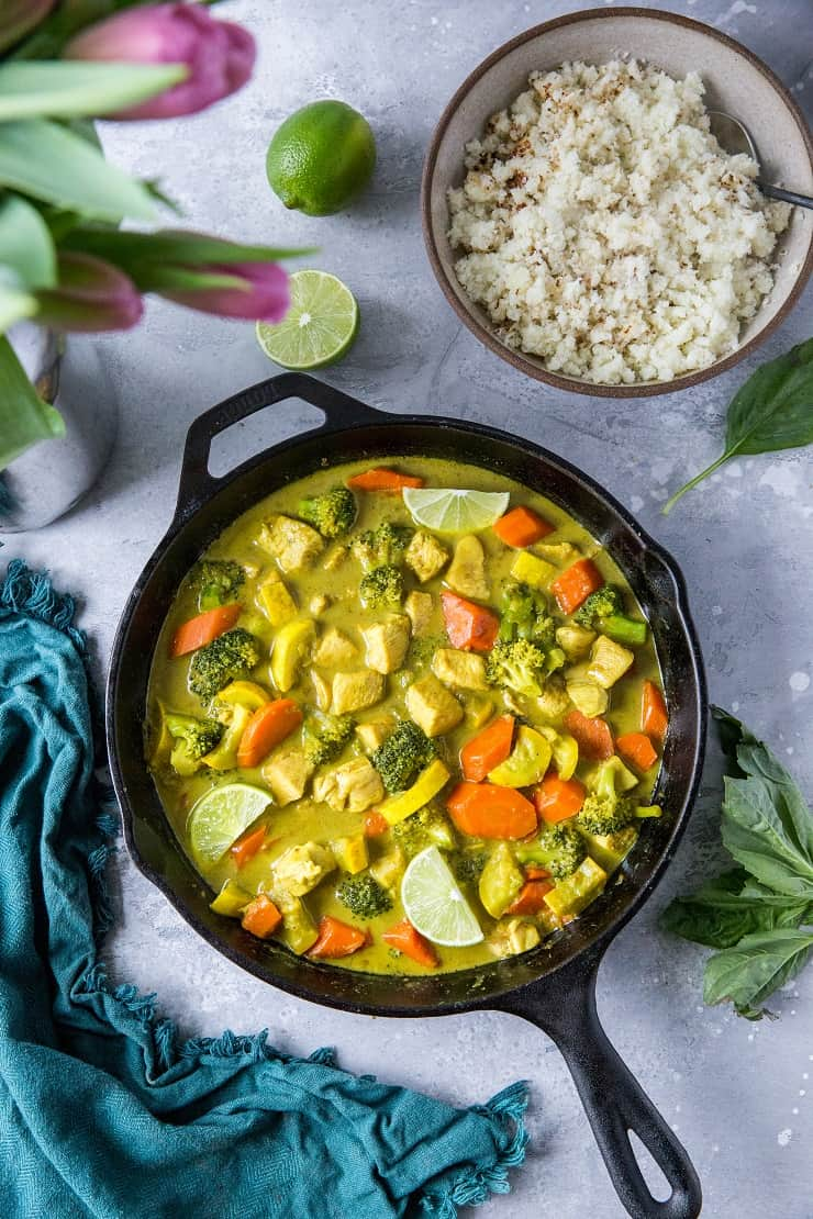 Nightshade-Free AIP Curry made without chilis, bell peppers, or tomatoes. A Thai curry recipe for those who follow AIP, a whole food diet, paleo, or keto | TheRoastedRoot.net #glutenfree #AIP #paleo
