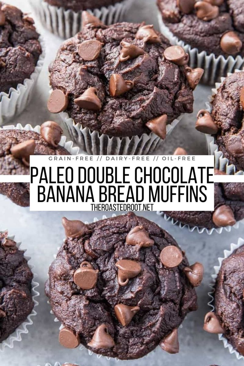 Paleo Double Chocolate Banana Muffins - grain-free, refined sugar-free, oil-free, dairy-free - a moist, delicious fluffy healthy muffin recipe!
