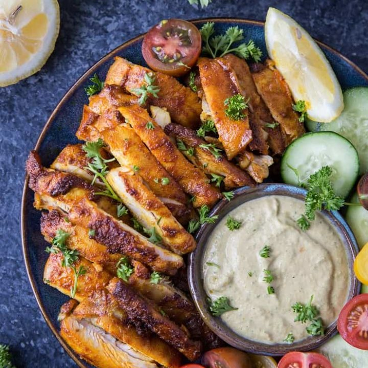 Easy Chicken Shawarma - Deliciously flavored Mediterranean-style chicken that is quick and easy to make!   TheRoastedRoot.net #lowcarb #keto #paleo #mediterraneandiet #glutenfree