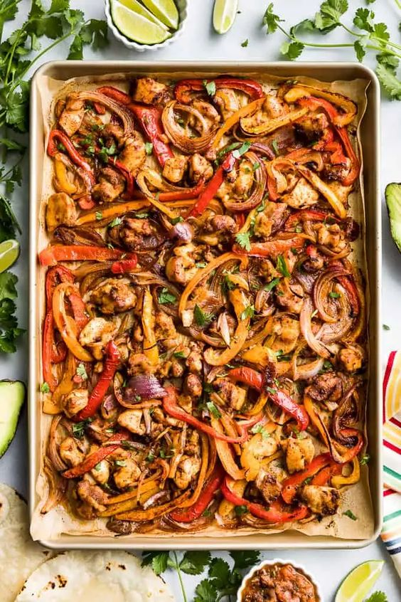 Healthy Sheet Pan Chicken Fajitas - a quick and easy dinner recipe
