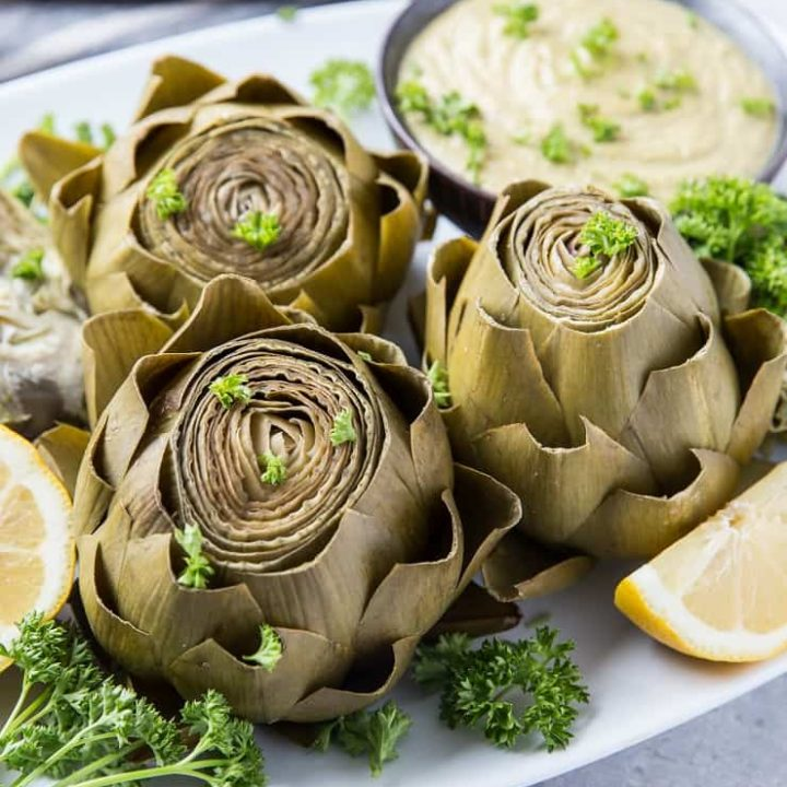 How to Cook Artichokes in the Instant Pot - a photo tutorial on preparing artichokes in a pressure cooker | TheRoastedRoot.net