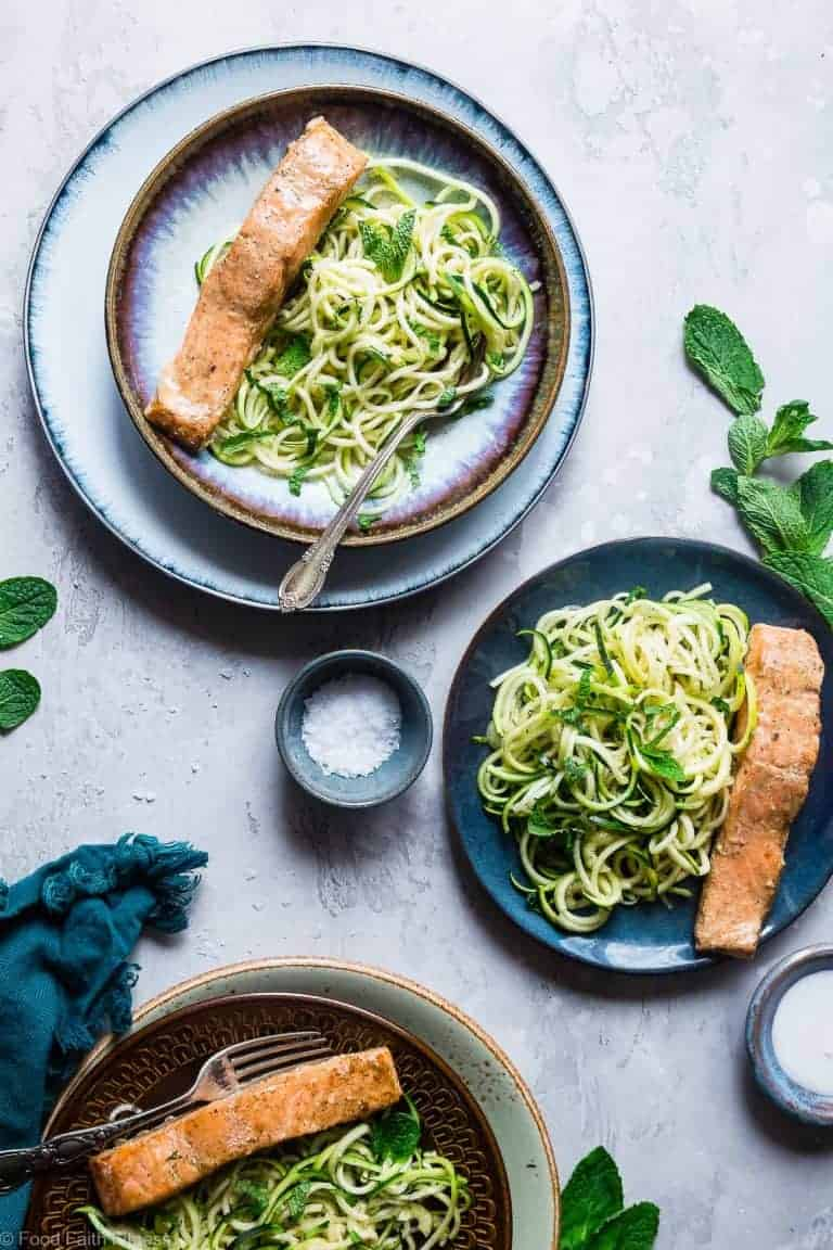 Indian Salmon Curry with Zucchini Noodles from Food Faith Fitness