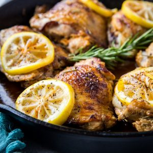 Lemon Rosemary Braised Chicken Thighs - an easy, mouth-watering chicken recipe that's quick, simple, and healthful | TheRoastedRoot.net #paleo #keto #healthy