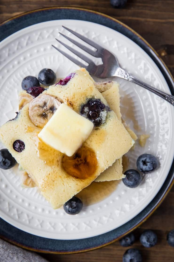 Paleo Sheet Pan Pancakes made with almond flour - this easy recipe is prepared in a blender and baked on a sheet pan to minimize time and effort! | TheRoastedRoot.net #grainfree #glutenfree
