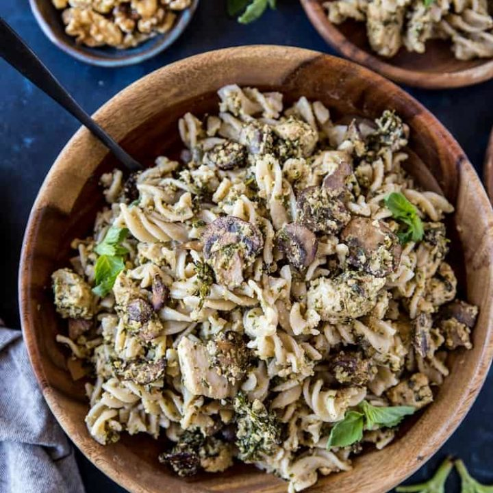 Pesto Chicken Pasta with Broccoli and Mushrooms - an easy, nutritious weeknight meal that only takes 30 minutes to make! | TheRoastedRoot.com