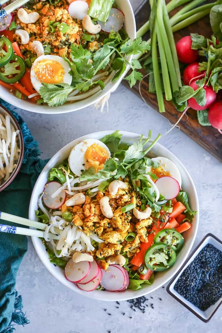 Curried Chicken Ramen with Soft Boiled Eggs made in the Instant Pot