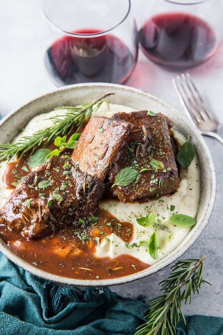 Instant Pot Red Wine Braised Short Ribs - a classic recipe for short ribs made easy in your pressure cooker | TheRoastedRoot.com