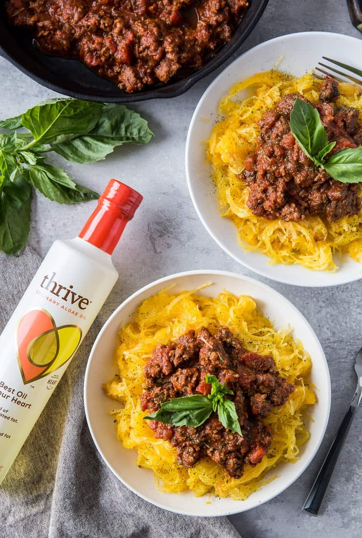 Spaghetti Squash Bolognese - an easy, nutritious low-carb, paleo weeknight meal | theroastedroot.net