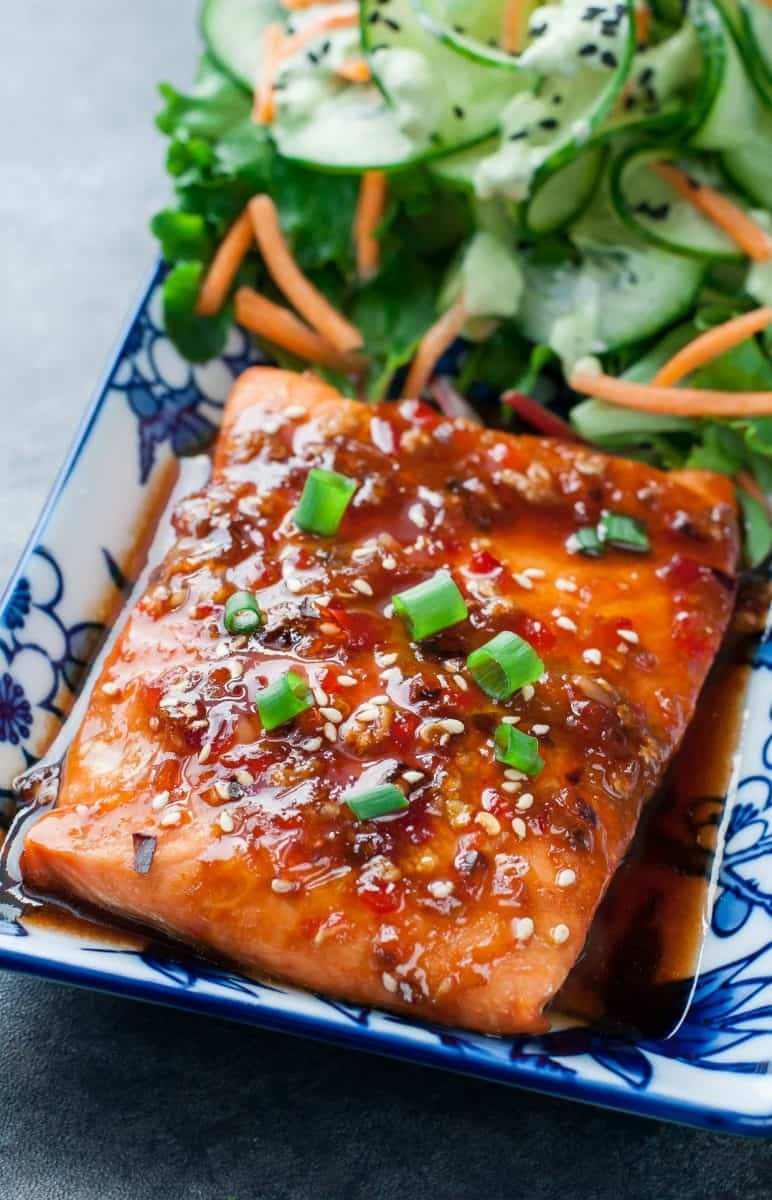 Sweet Chili Glazed Salmon from Peas and Crayons