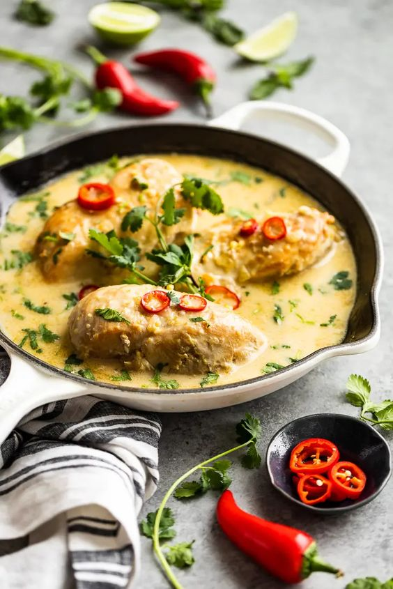 Thai Coconut Lime Chicken is a quick, easy and healthy dinner recipe